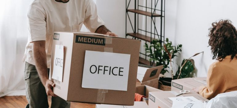 moving box labeled office