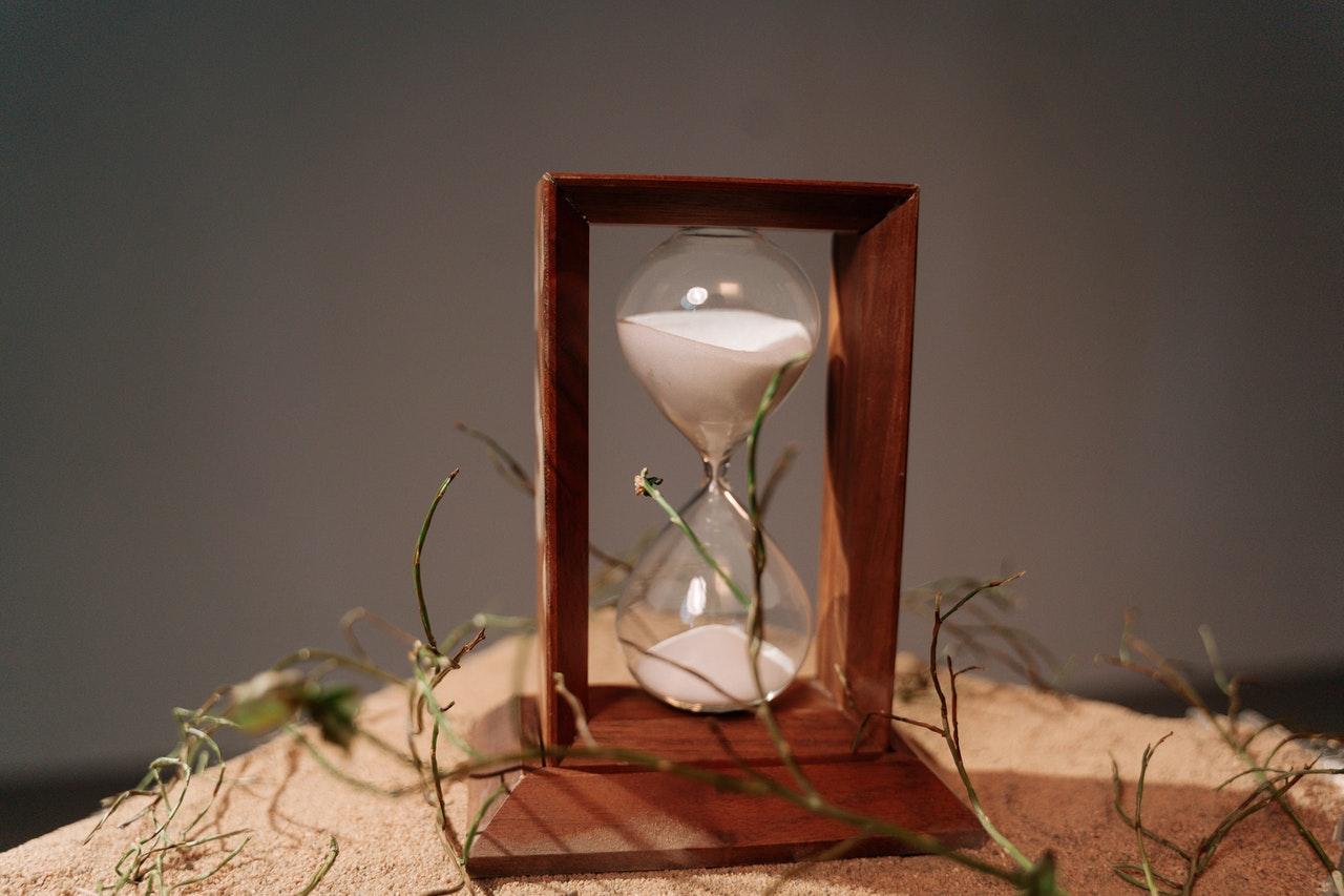 Brown wooden hourglass